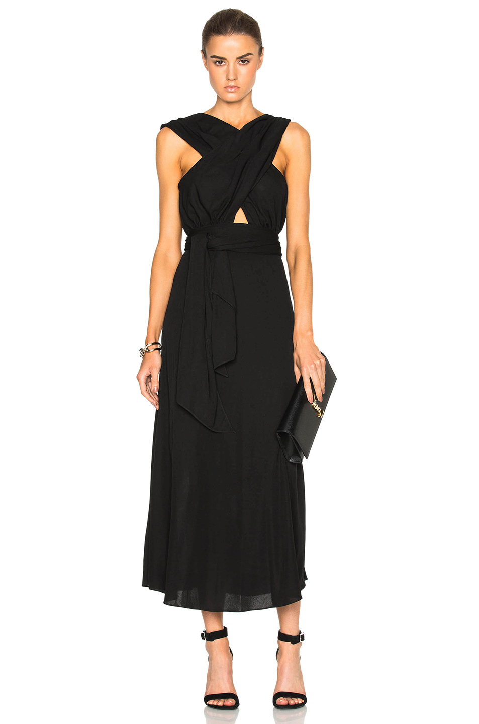 Tome Criss Cross Jersey Dress in Black