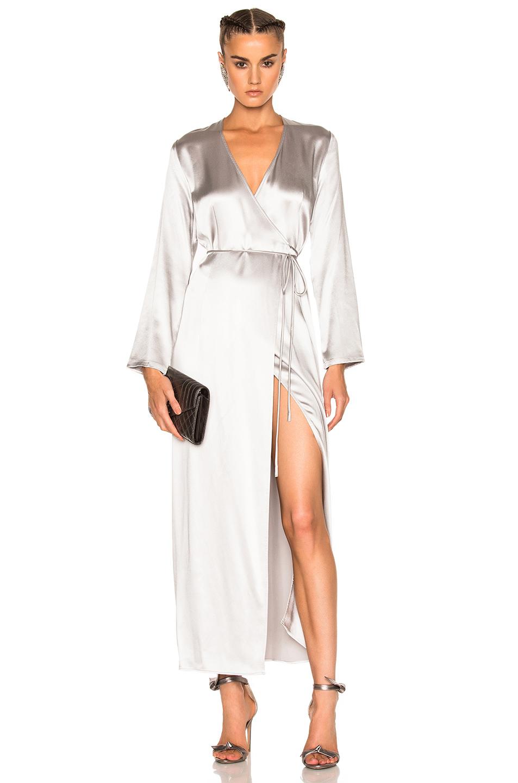 ThePerfext Elyse Wrap Dress in Gray,Metallics