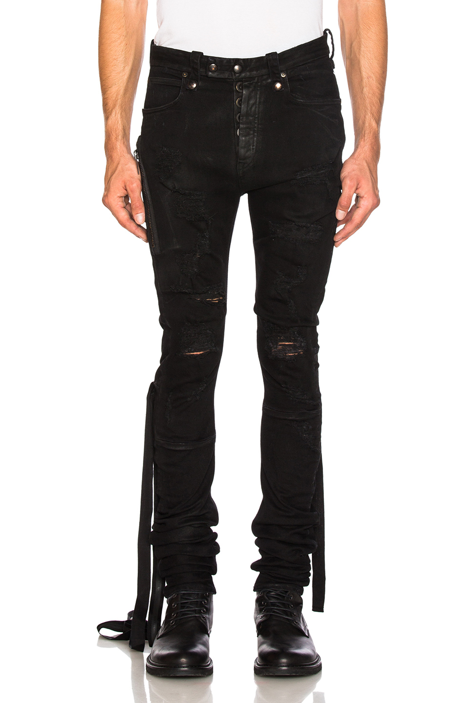 Unravel Denim Distort Parachute Jeans in Black