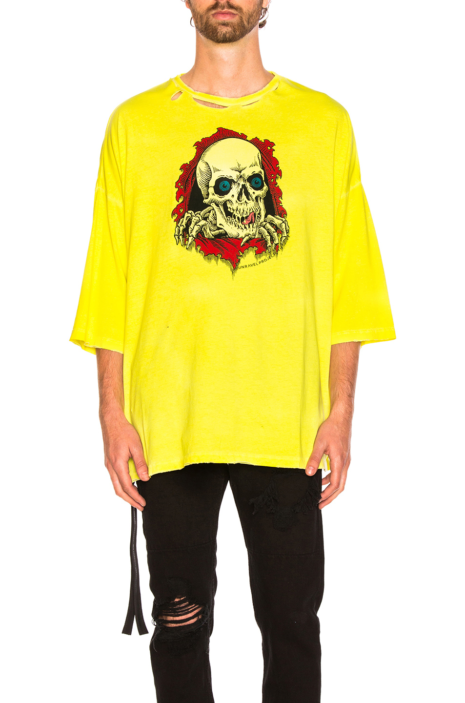 Unravel for FWRD Oversized Boxy Tee in Yellow,Neon