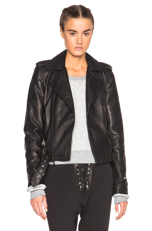 Unravel FWRD Exclusive Lace Up Biker Jacket in Black