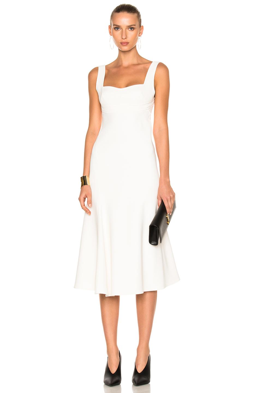 Victoria Beckham Flare Midi Dress in White