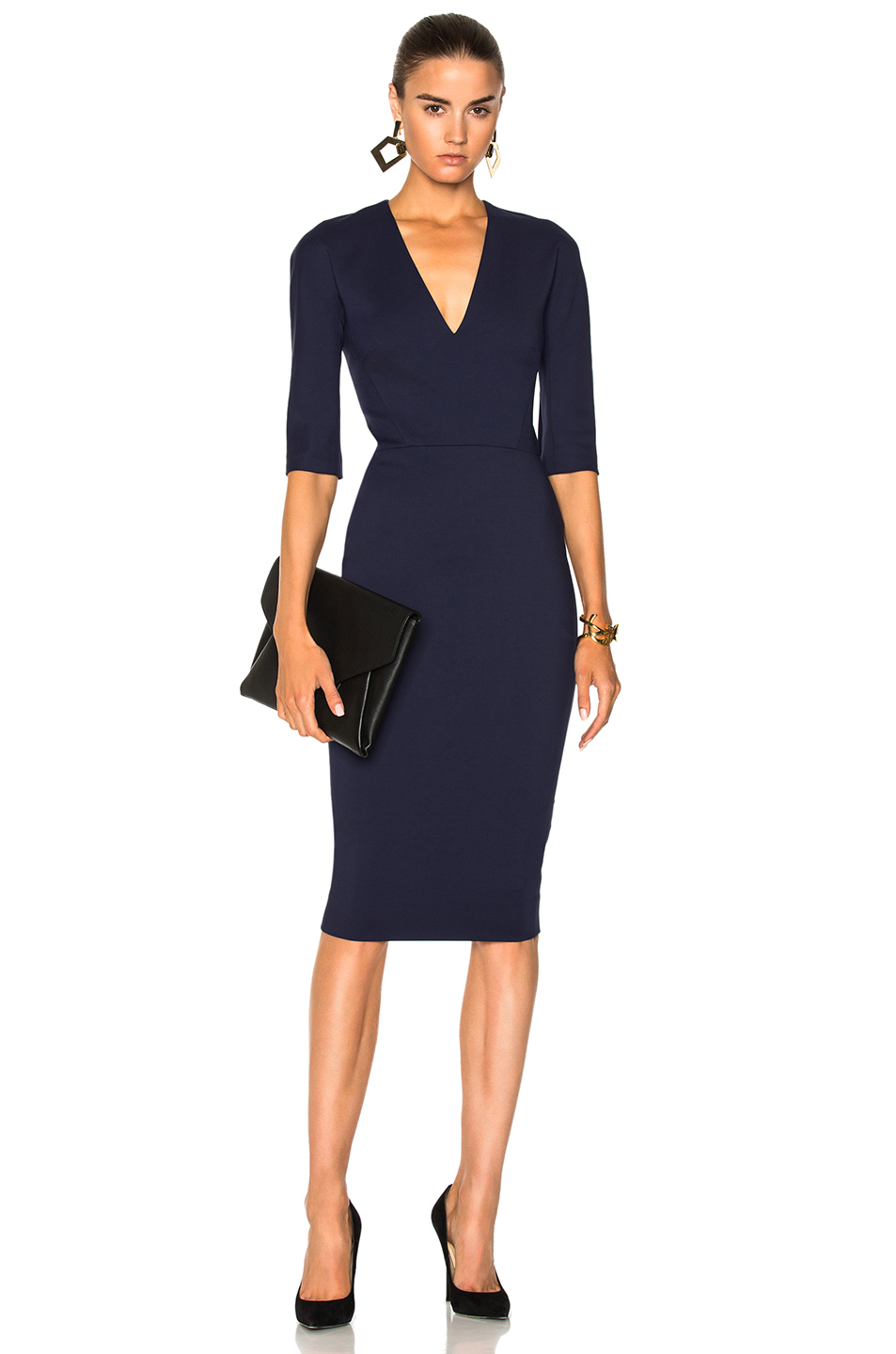 Victoria Beckham Microbrush Cotton Mid Sleeve V Neck Fitted Dress in Blue