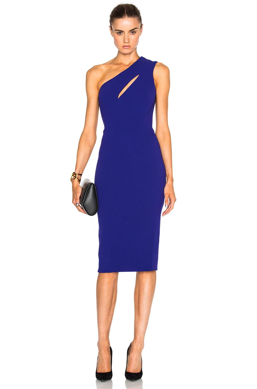 Victoria Beckham Matte Crepe On Shoulder Fitted Cut Out Dress in Blue