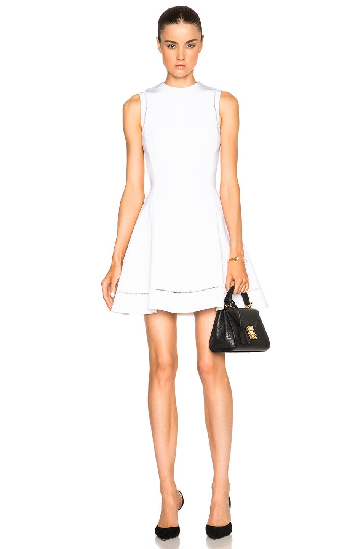 Victoria Beckham Dense Rib Ajoure Flare Mini Dress in White
