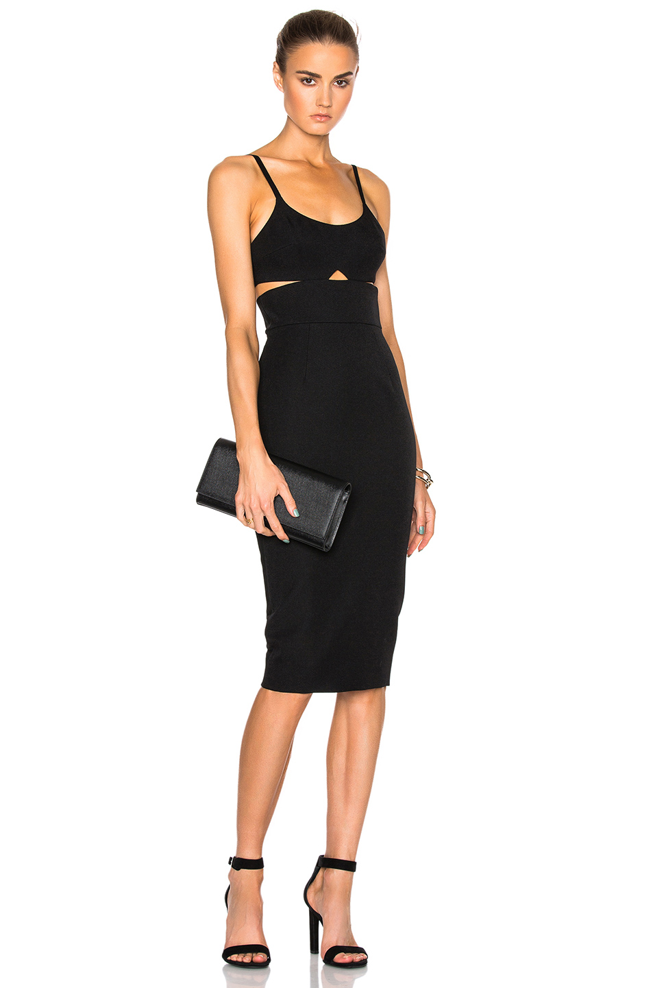 Victoria Beckham Wool Gabardine Rib Cut Out Fitted Dress in Black