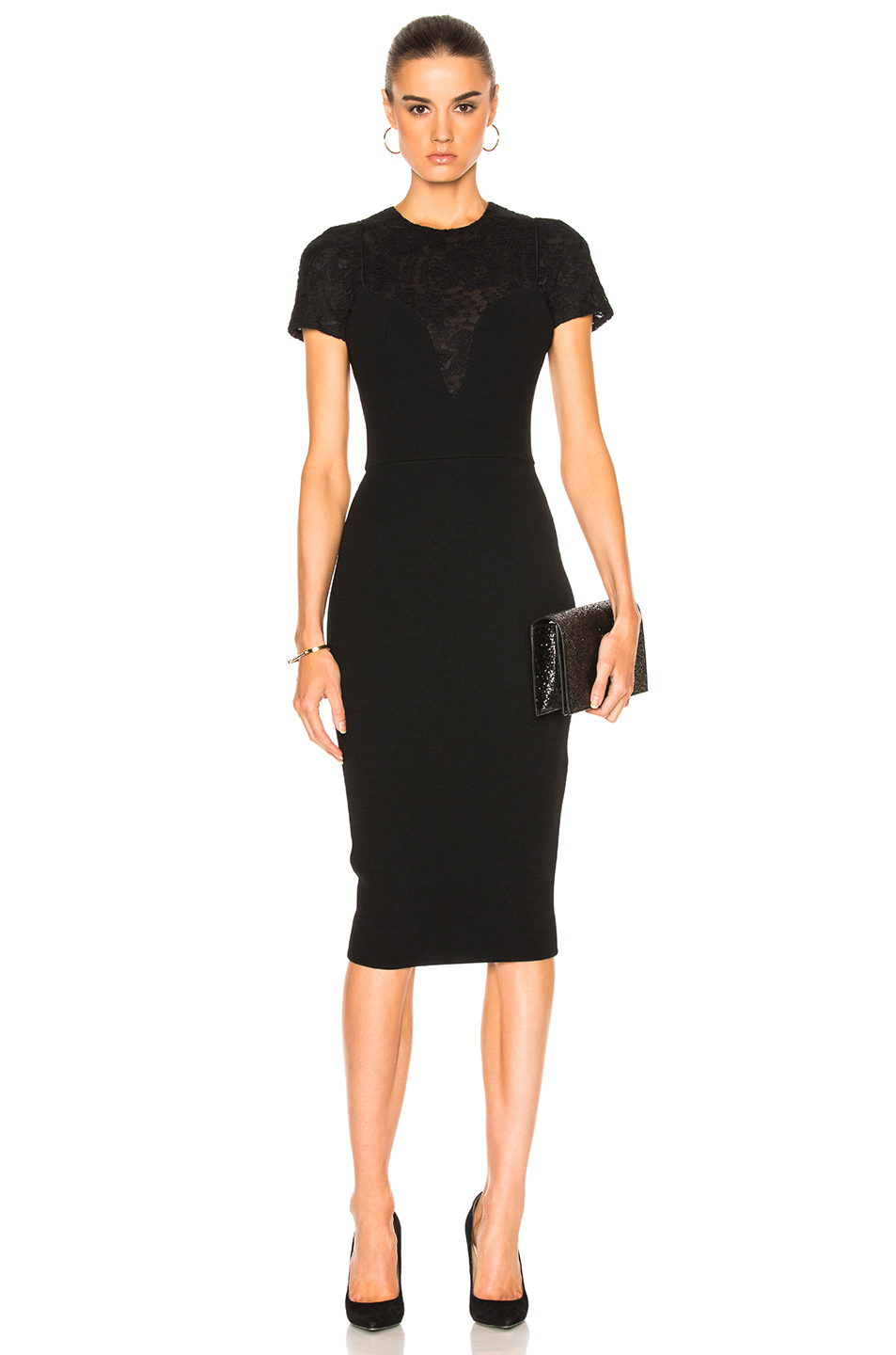 Victoria Beckham Matte Crepe & Lace Insert Short Sleeve Fitted Dress in Black