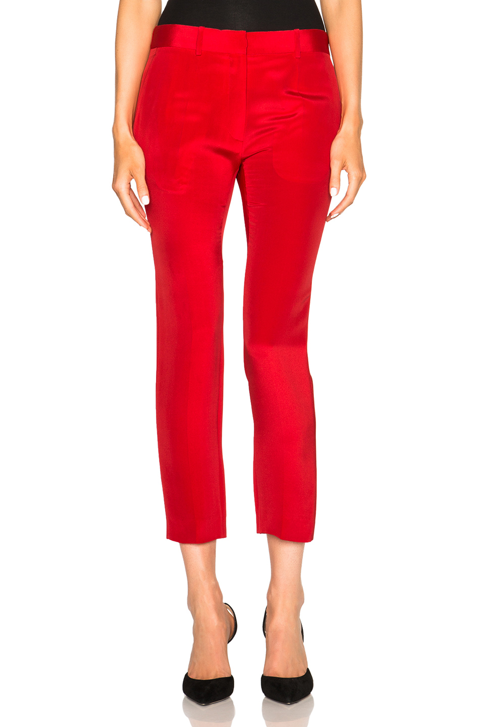 Victoria Beckham Crepe Moroccan Slim Trousers in Red