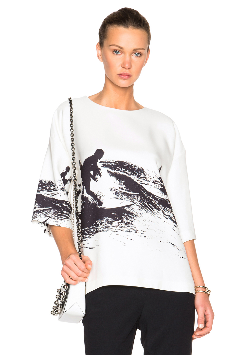 Victoria Beckham Oversized Tee in White,Abstract