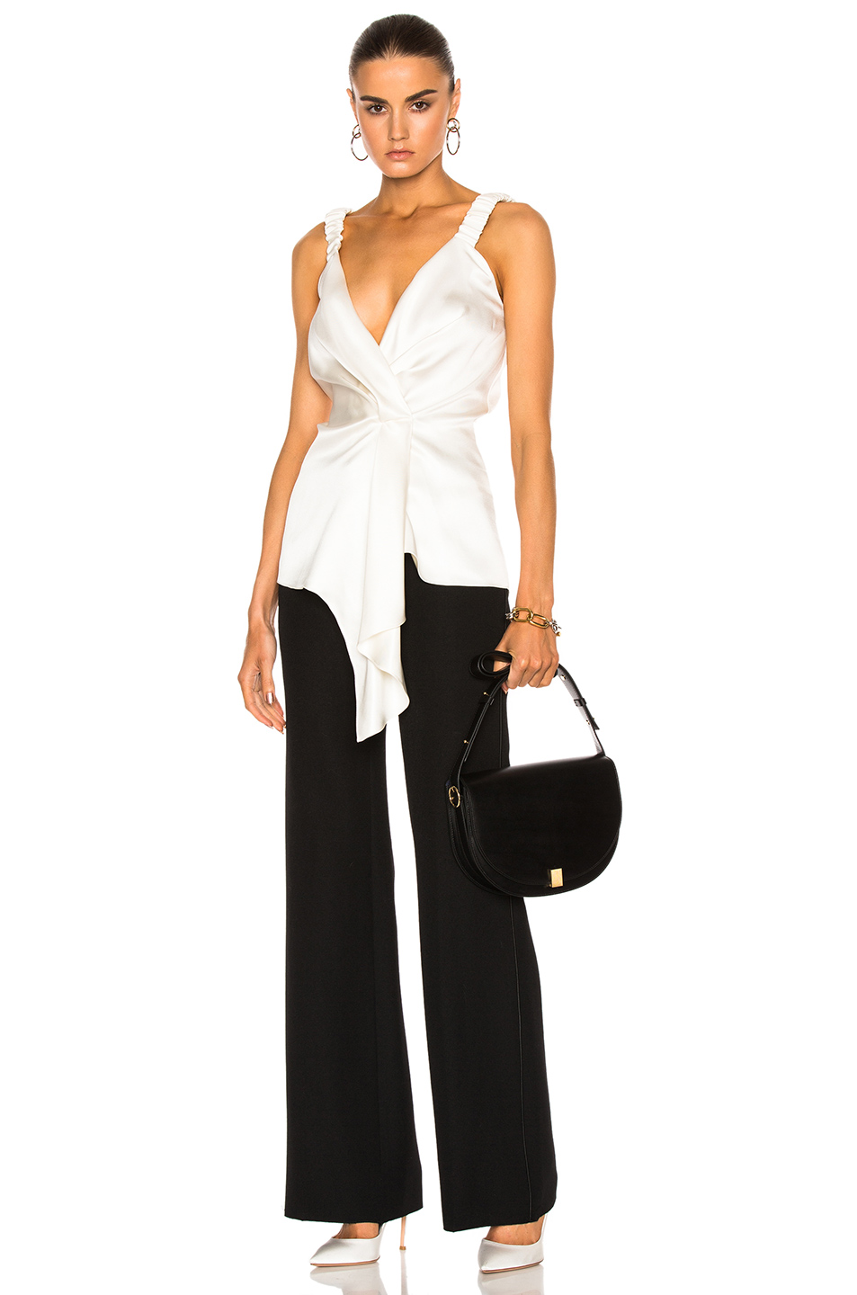 Victoria Beckham Silk Twill Wrap Top in White