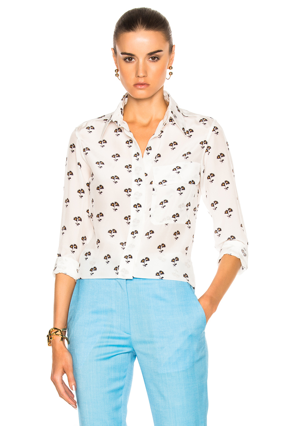 Victoria Beckham Daisy Print Blouse in Floral,White