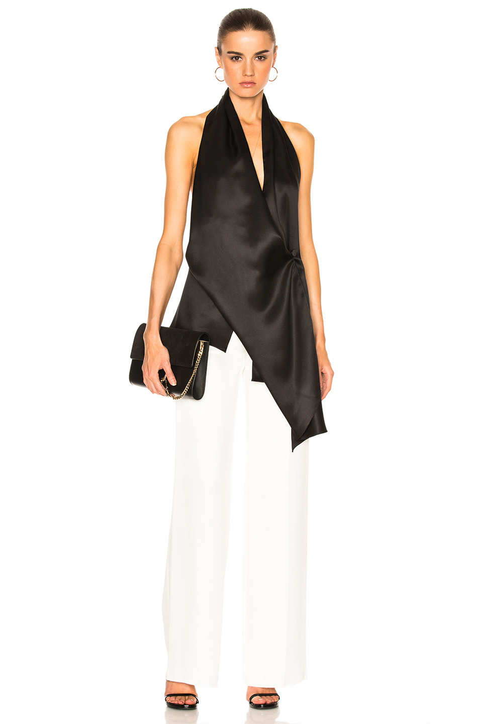 Victoria Beckham Silk Twill Draped Top in Black