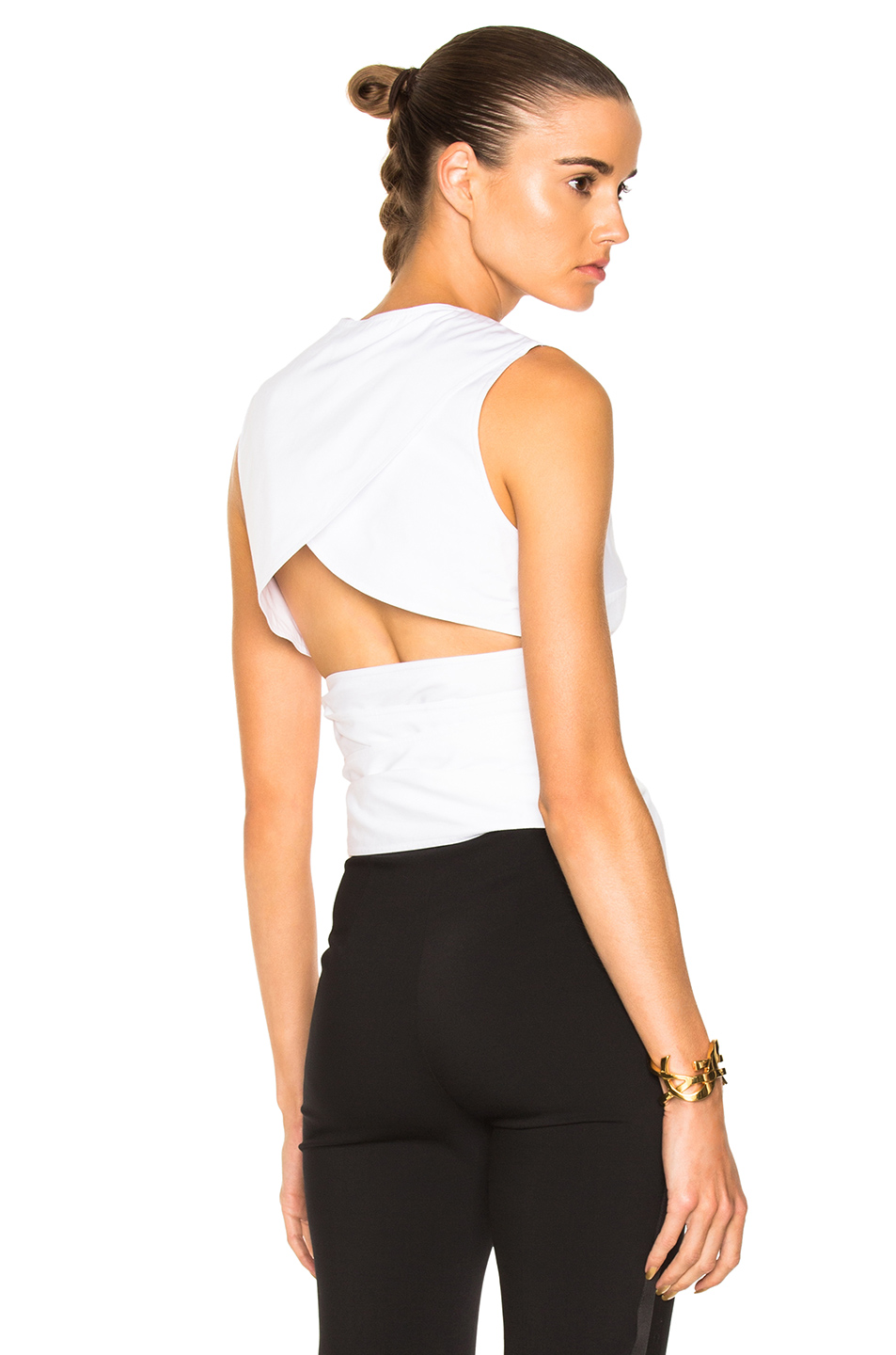 Victoria Beckham Cotton Shirting Belted Backless Top in White
