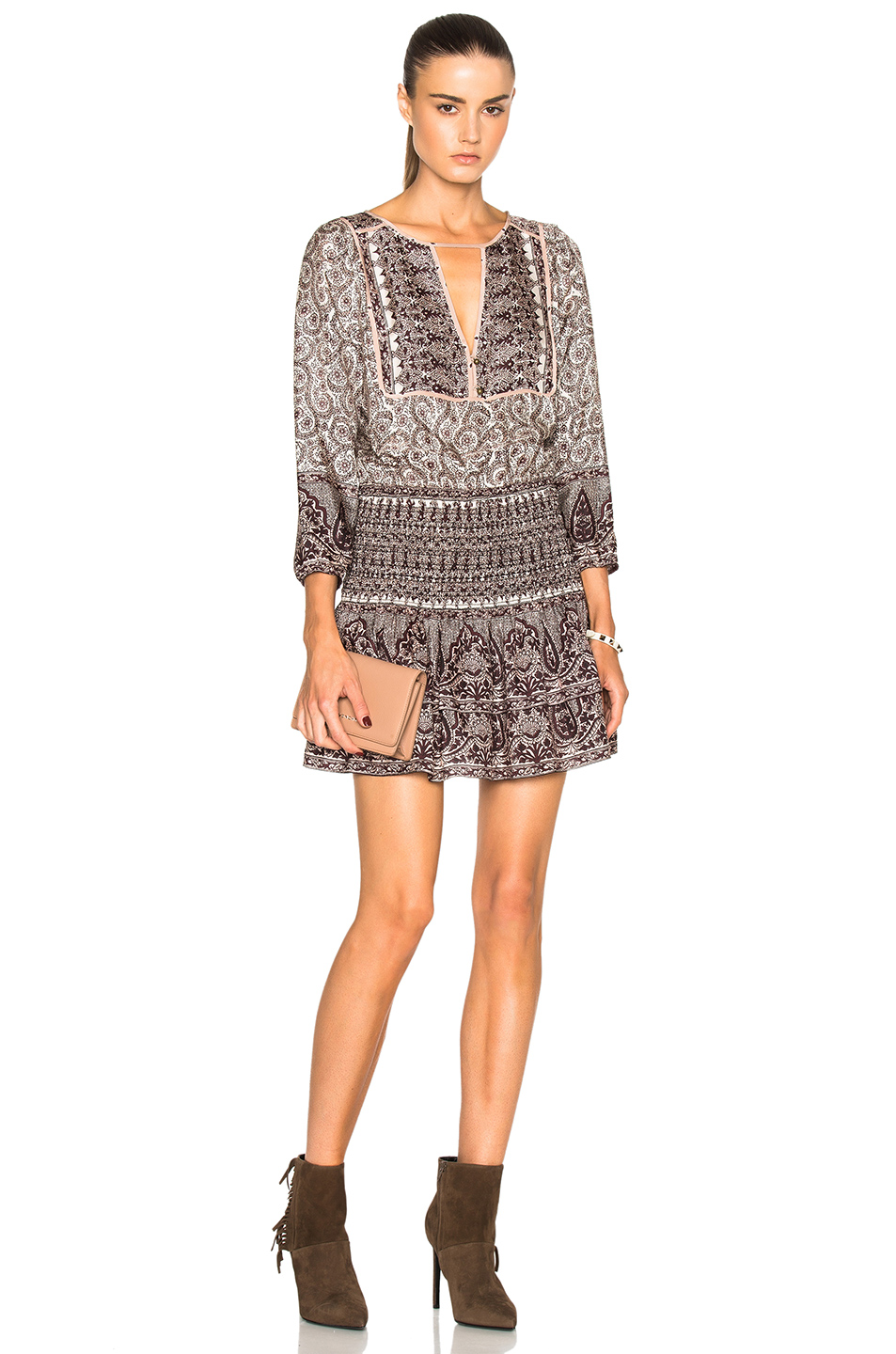 Veronica Beard Makai Boho Dress in Neutrals,Floral,Brown