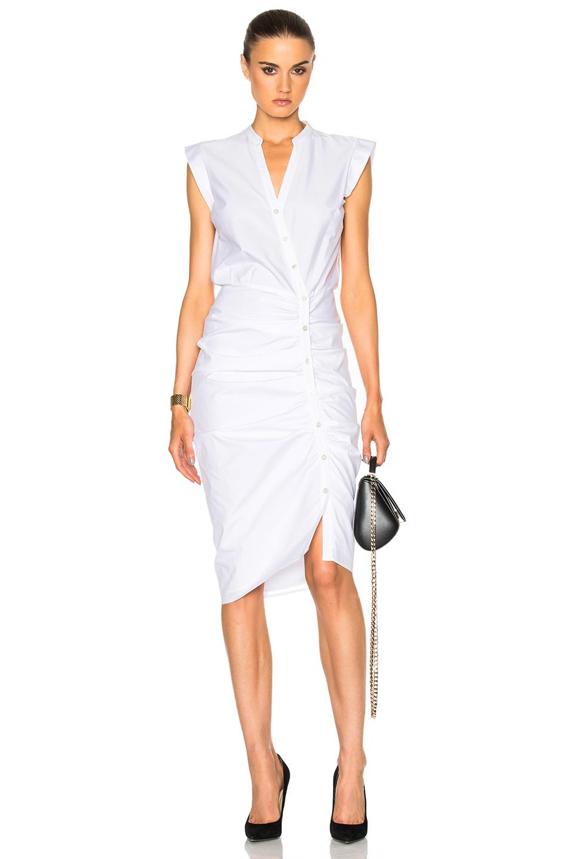 Veronica Beard Ruched Shirt Dress in White