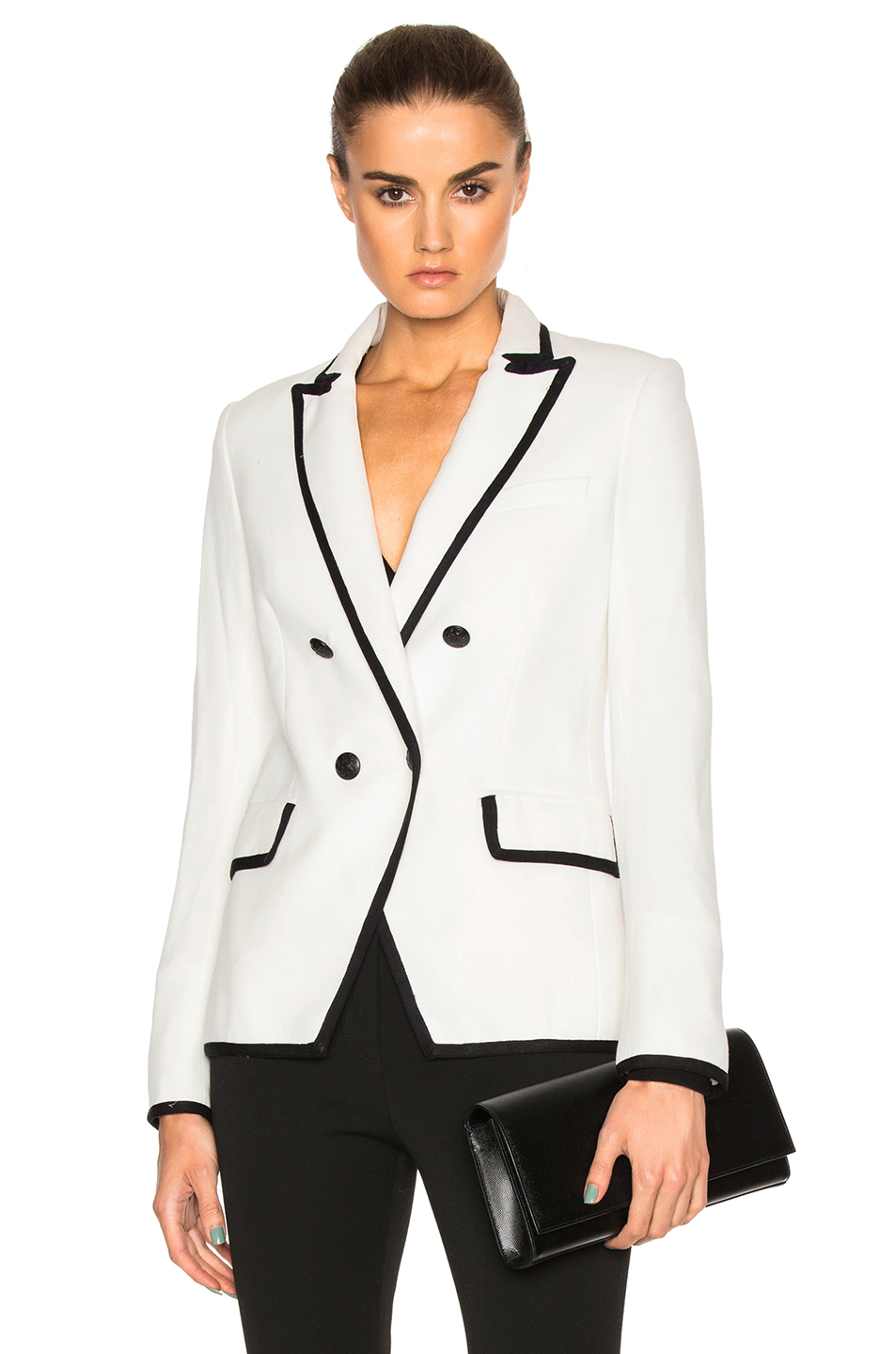 Veronica Beard Harriet Cutaway Blazer in White