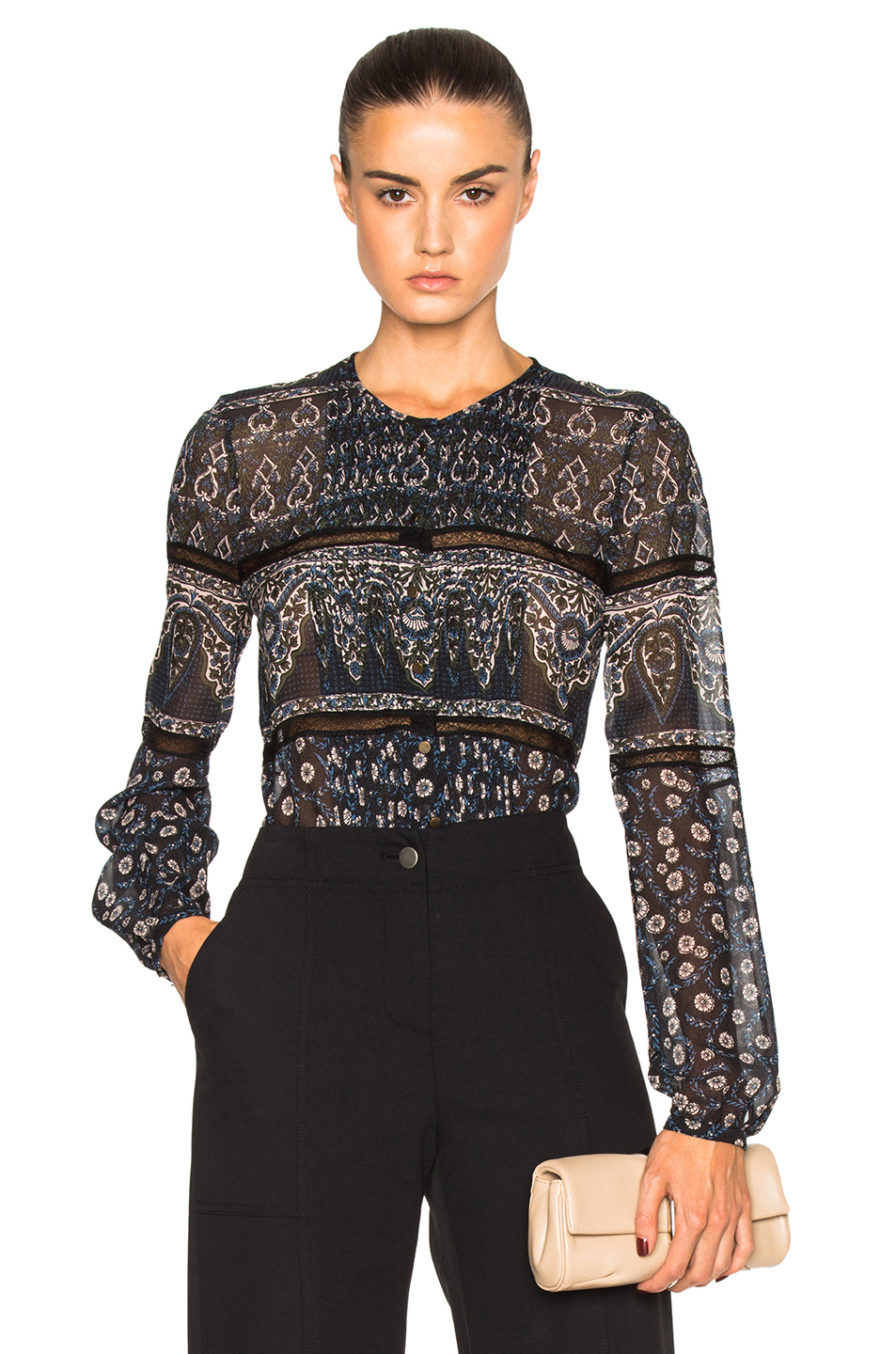 Veronica Beard Daisy Lace Top in Blue,Floral