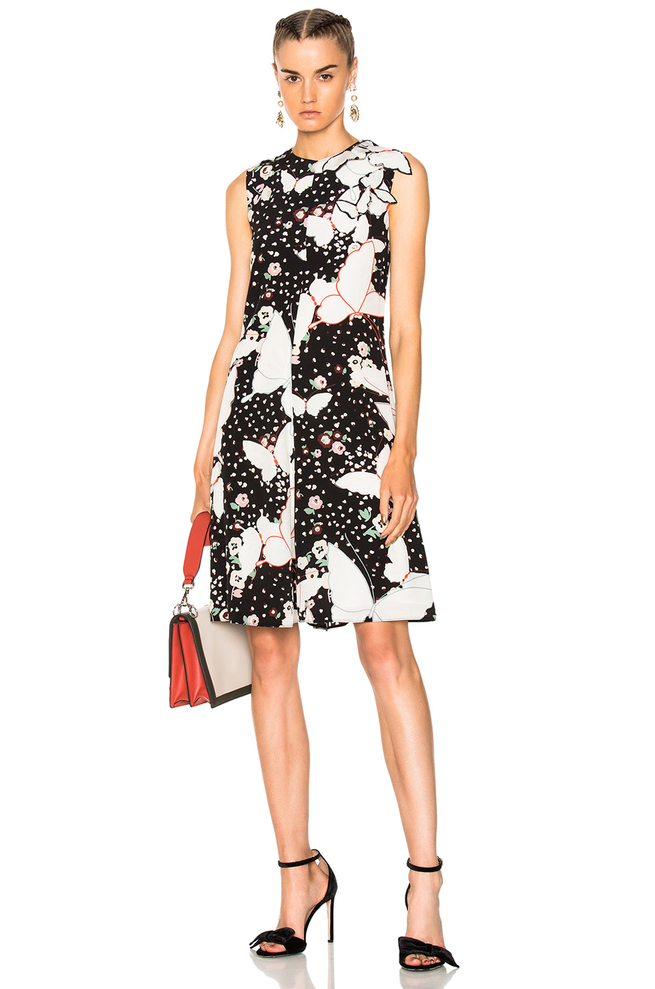 Valentino Butterfly Print Crepe de Chine Sleeveless Dress in Abstract,Black,Floral