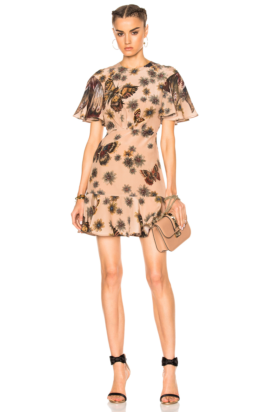 Valentino Butterfly Dress in Floral,Brown,Neutral