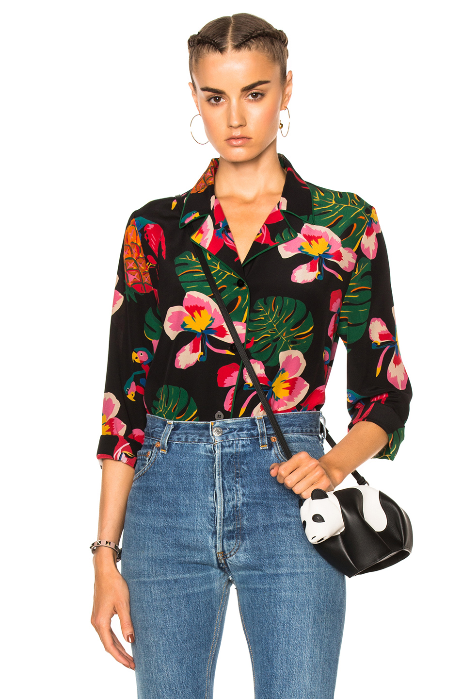 Valentino Tropical Dream Blouse in Black,Floral,Green,Red