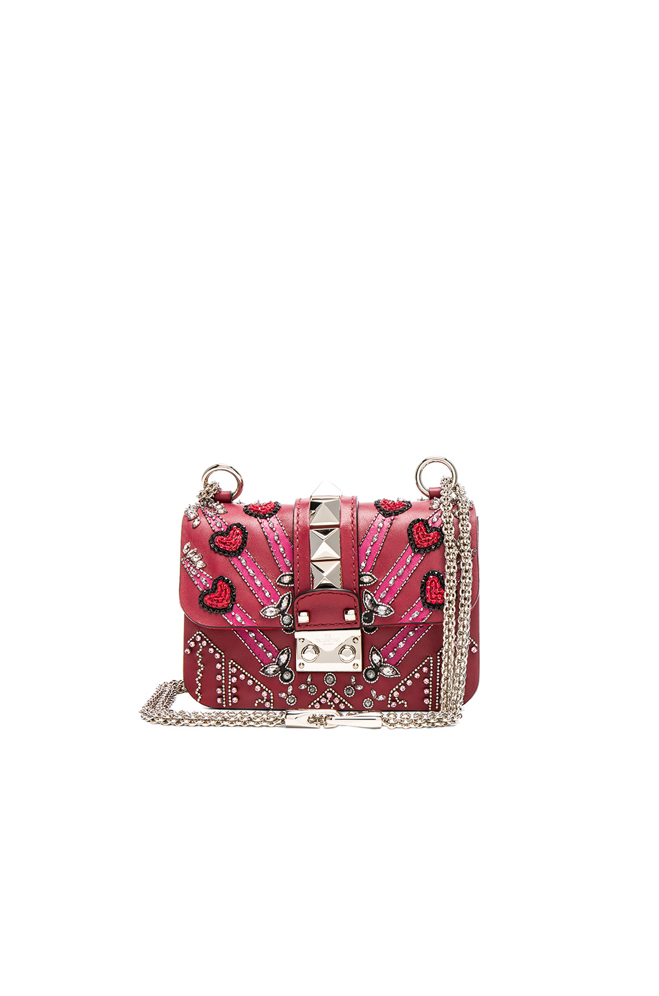 Valentino Embellished Mini Lock Shoulder Bag in Red