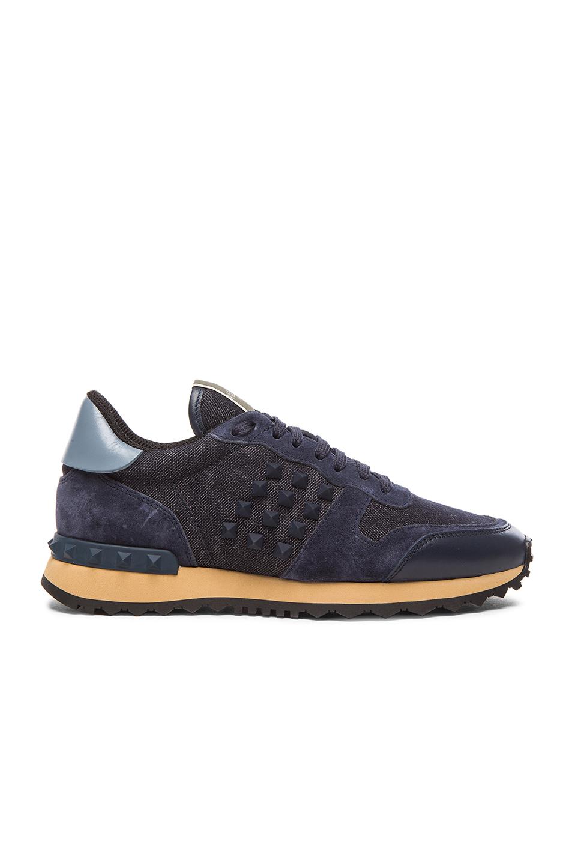 Valentino Rock Runner Rockstud Sneakers in Blue