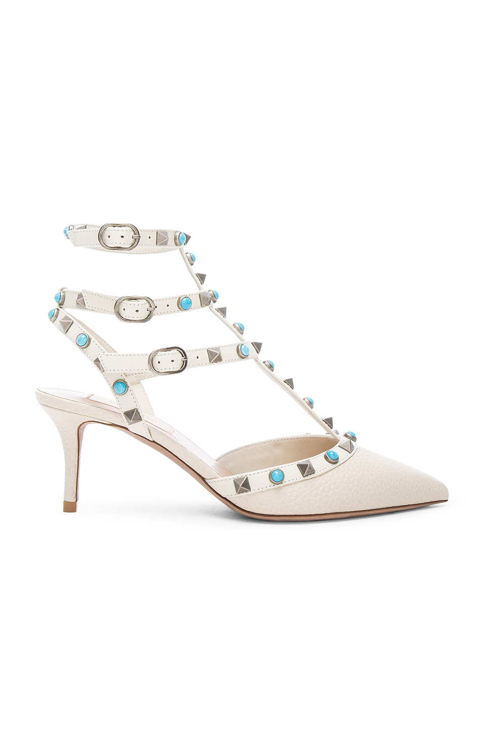 Valentino Rockstud Leather Rolling Heels in White