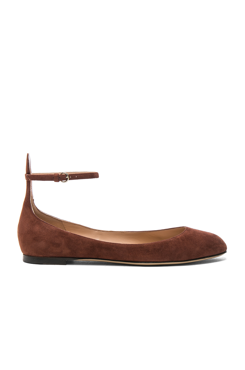Valentino Suede Tan-Go Flats in Brown