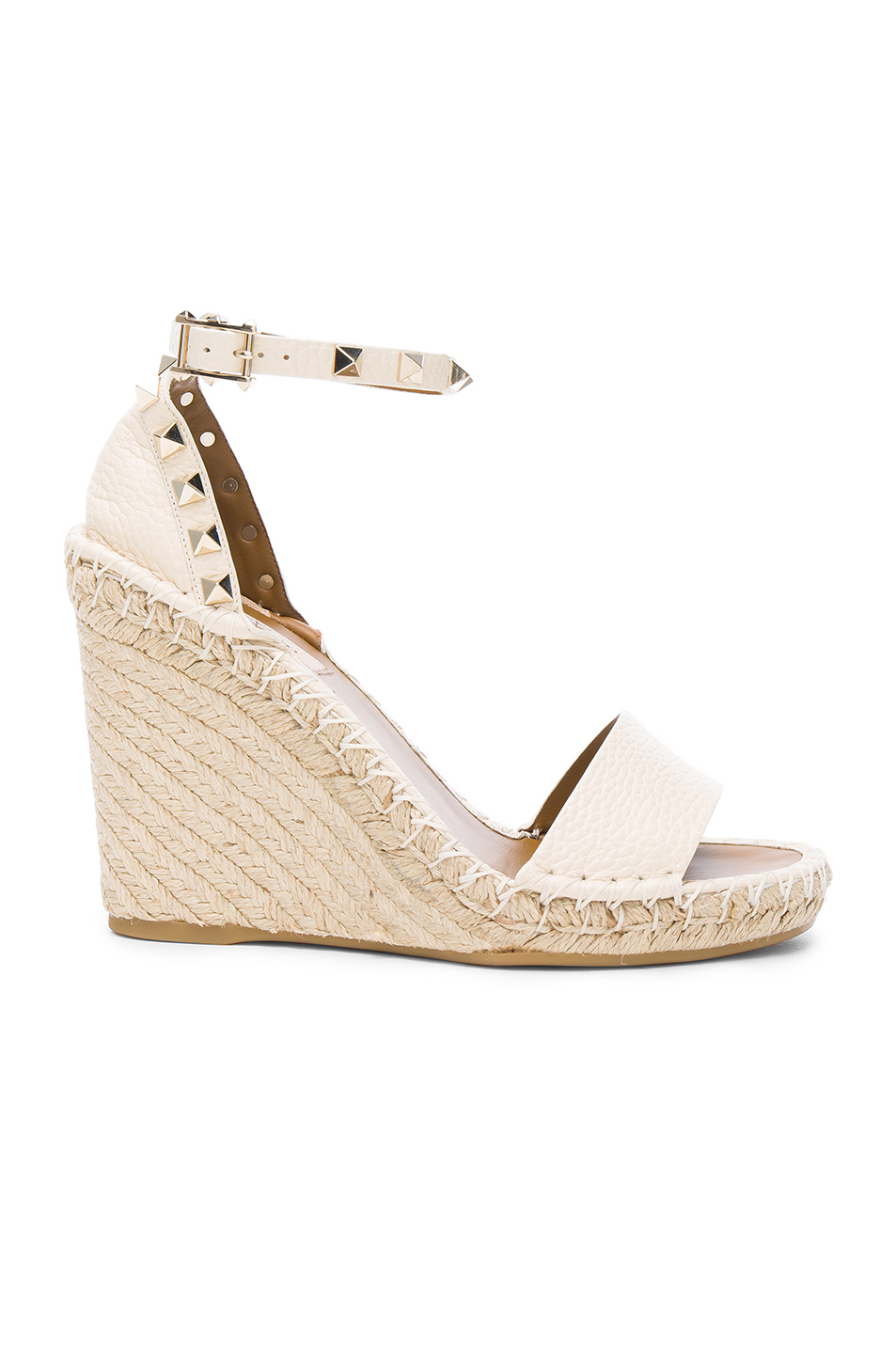 Valentino Rockstud Double Espadrille Leather Wedges In