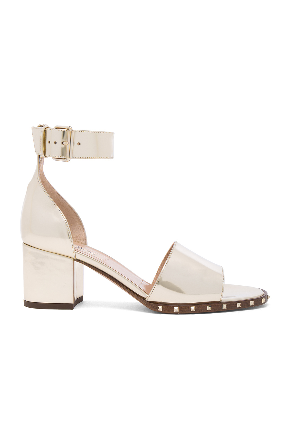 Valentino Leather Soul Rockstud Sandals in Metallics
