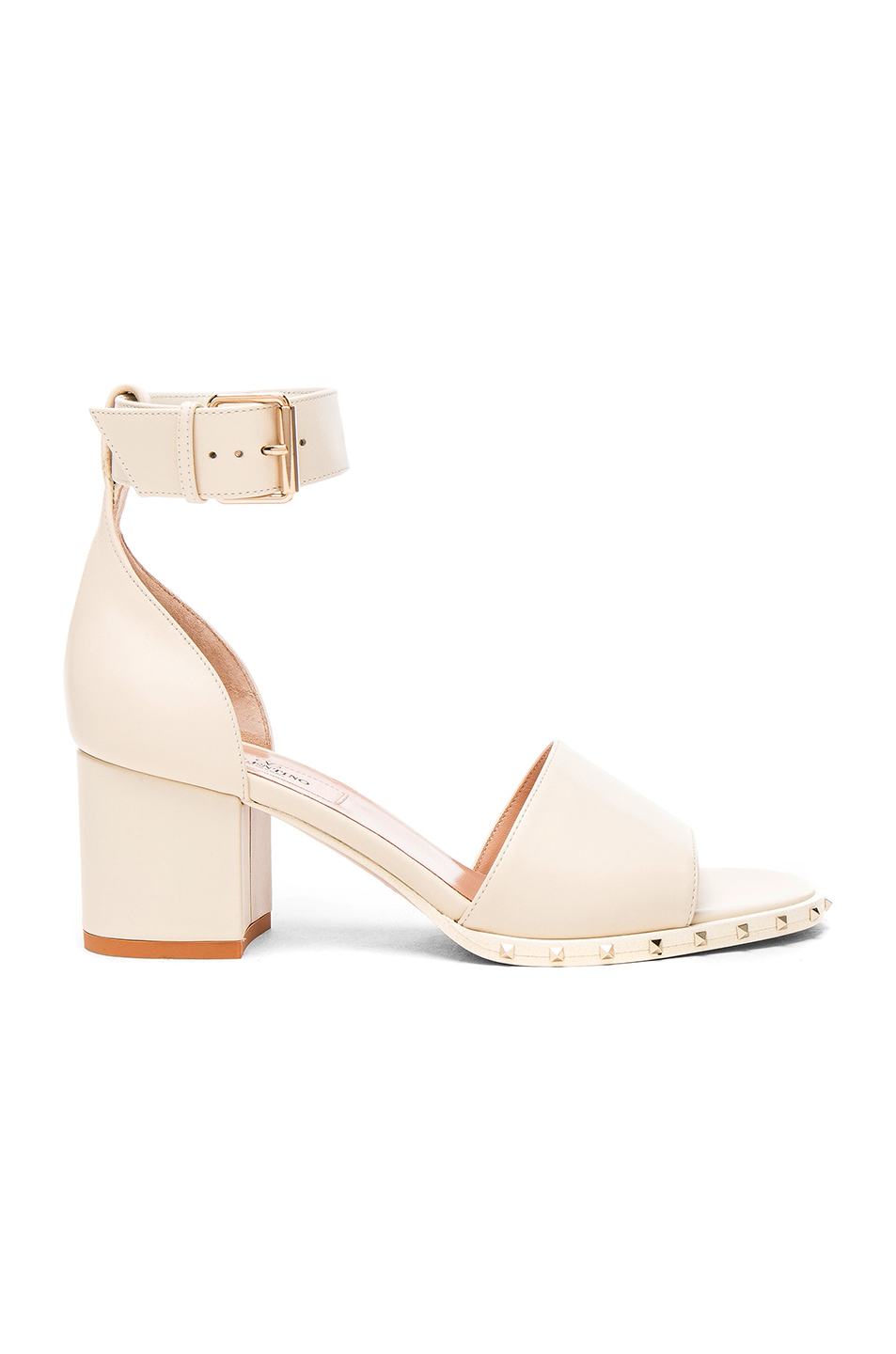Valentino Leather Soul Rockstud Sandals in White