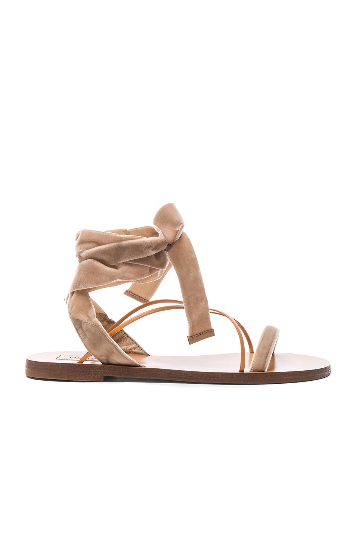 Valentino Flat Velour Ankle Tie Sandals in Neutrals