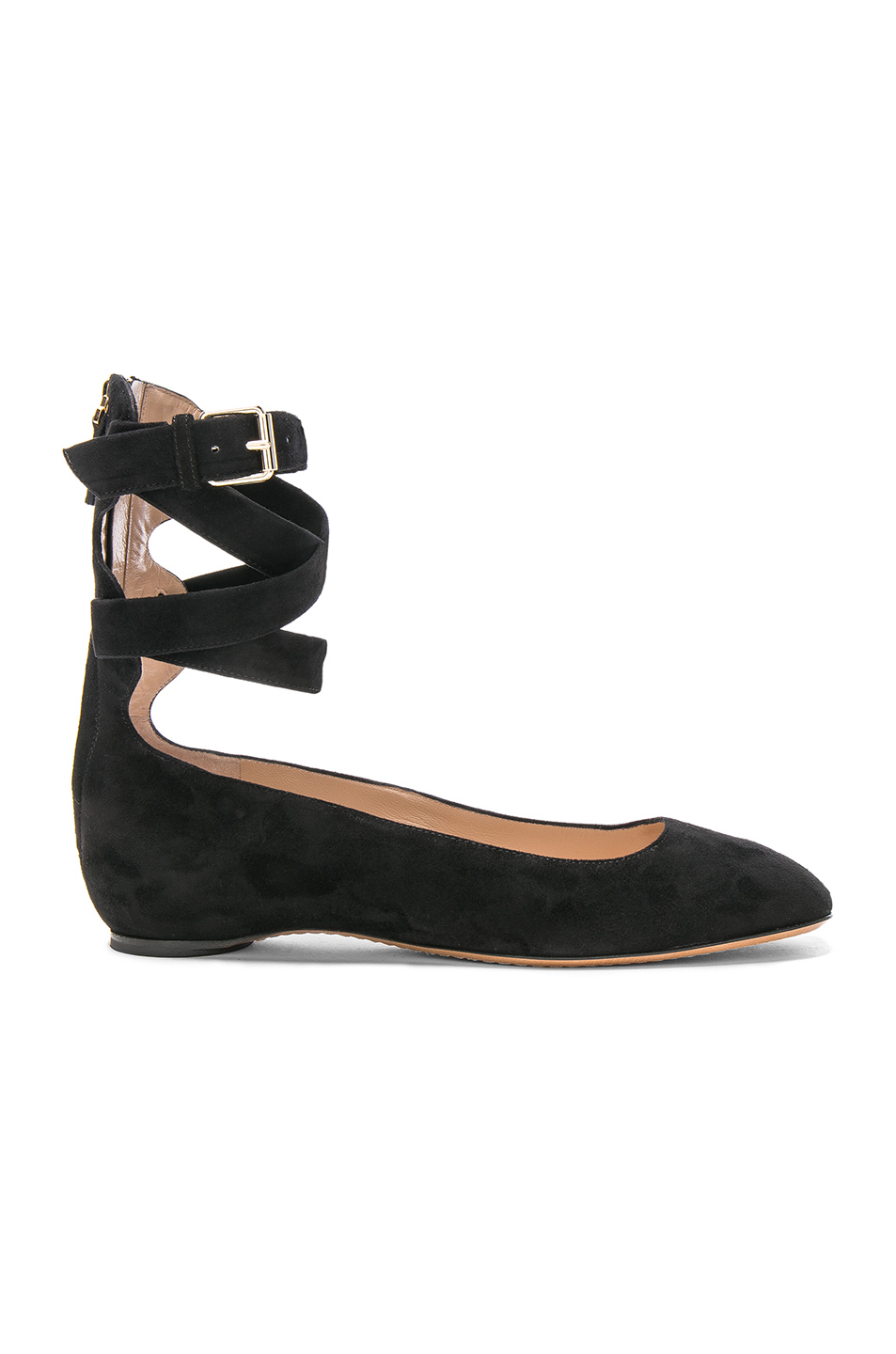 Valentino Suede Ankle Strap Flats in Black