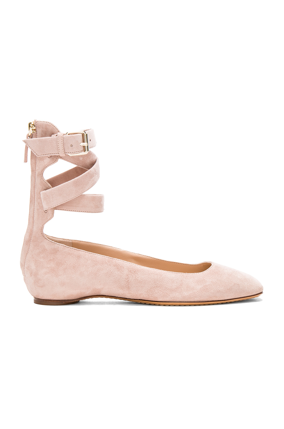 Valentino Suede Ankle Strap Flats in Neutrals