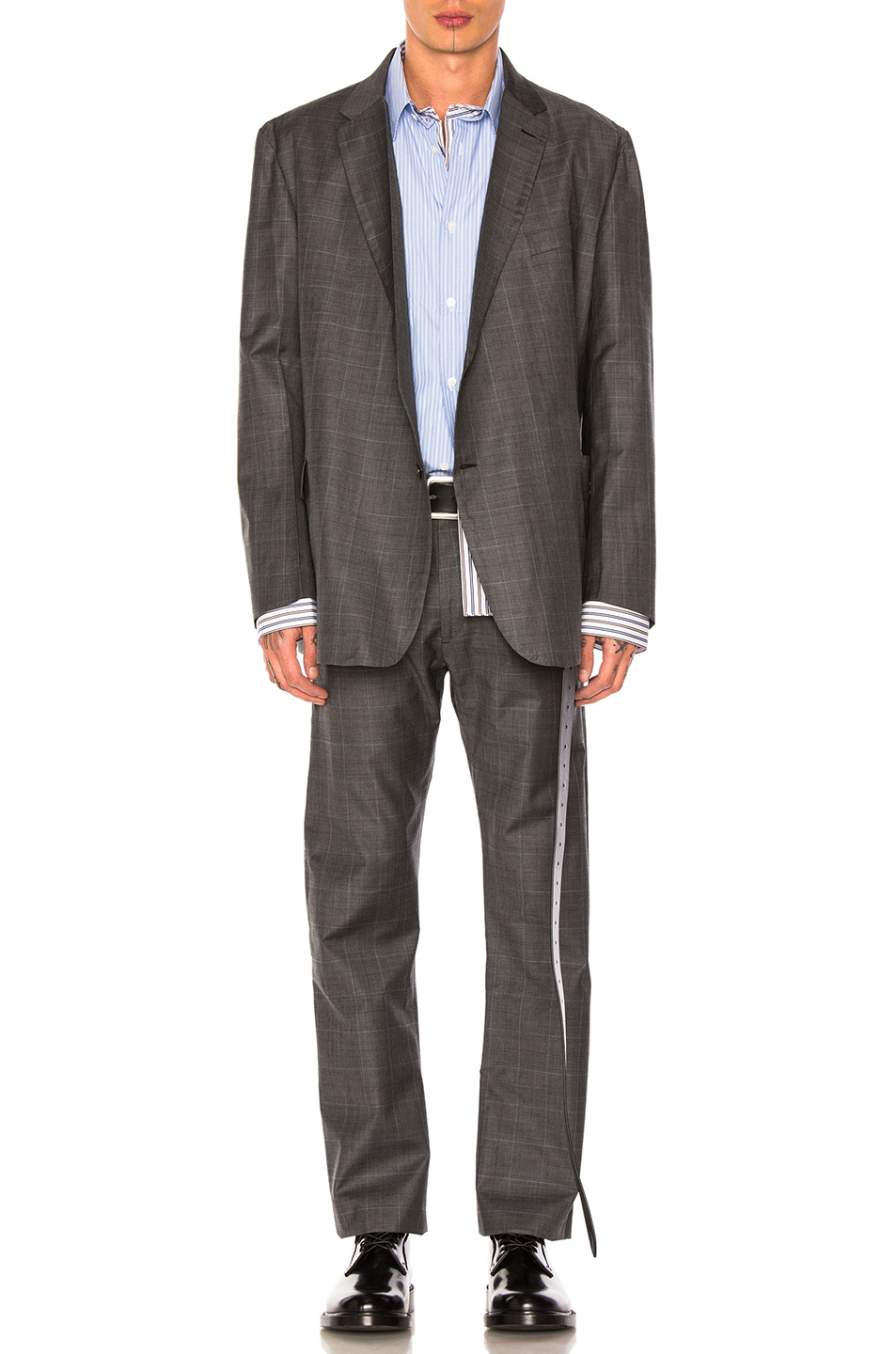 VETEMENTS x Brioni Single Breasted Jacket in Gray,Checkered & Plaid