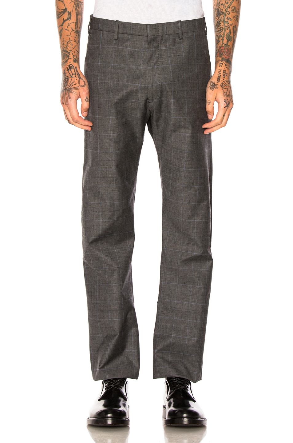 VETEMENTS x Brioni Oversized Slim Pants in Gray,Checkered & Plaid