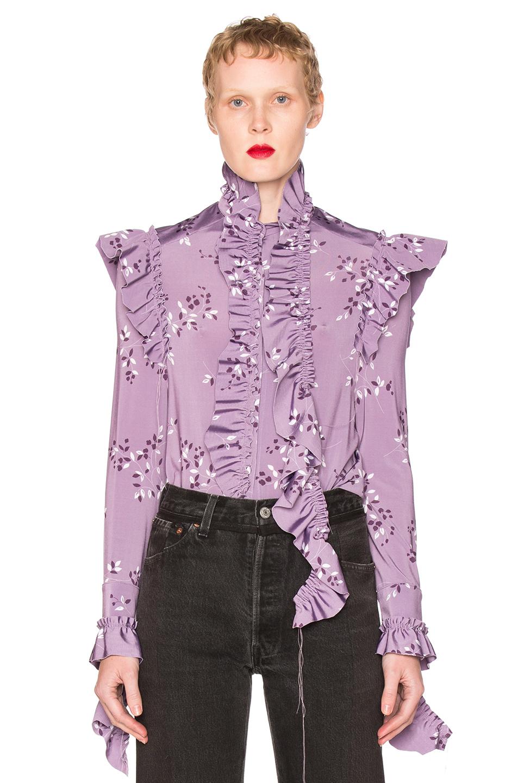 VETEMENTS Flower Print Blouse in Purple,Floral