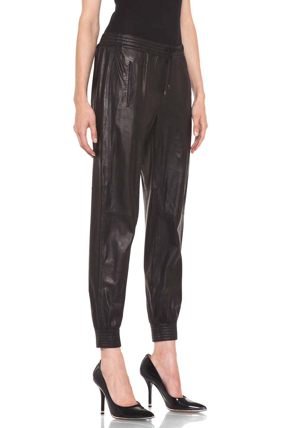 Elegant Which Has Been Seen As The More Approachable And Moderate Of The Major Womens Athletic Wear Chains The Collection Takes Athleta To Higher Price Points And Edgier Looks $398 Black Leather Jogging Pants $228 Blue And Gray Color