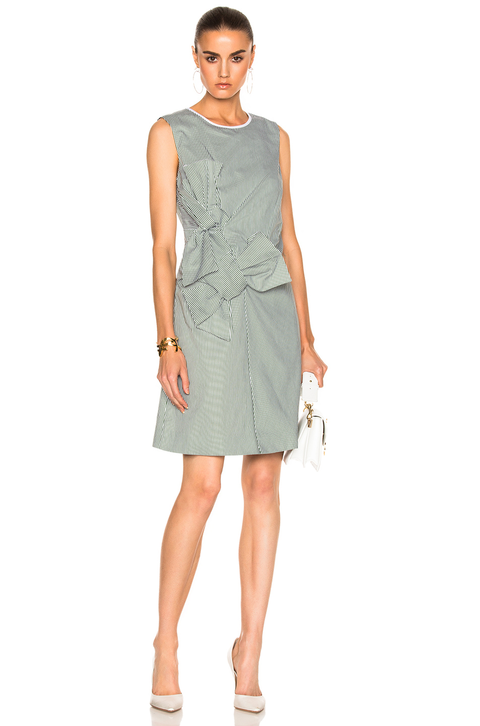 Victoria Victoria Beckham Double Knot Dress in Green,Stripes,White