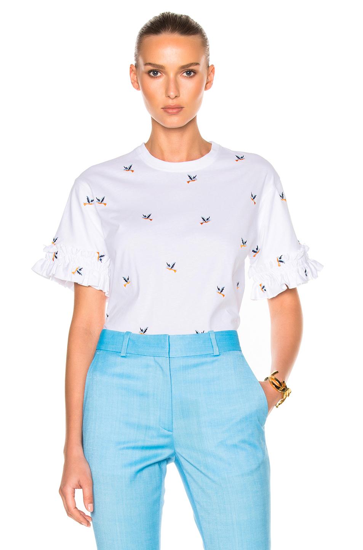 Victoria Victoria Beckham Ruffle Sleeve Tee Shirt in White