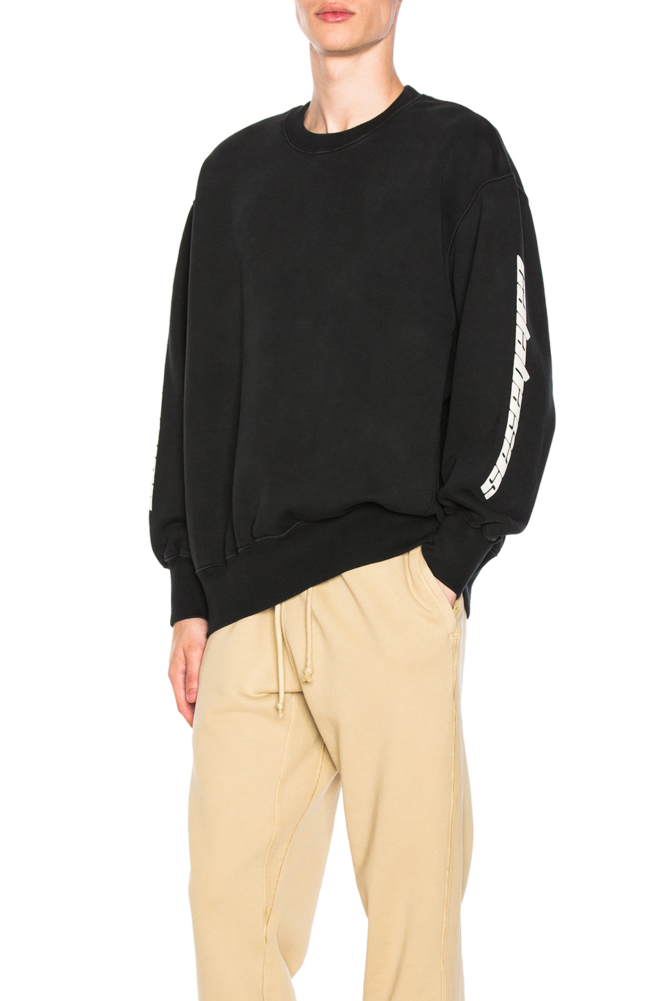YEEZY Season 4 Boxy Crewneck Sweatshirt in Black