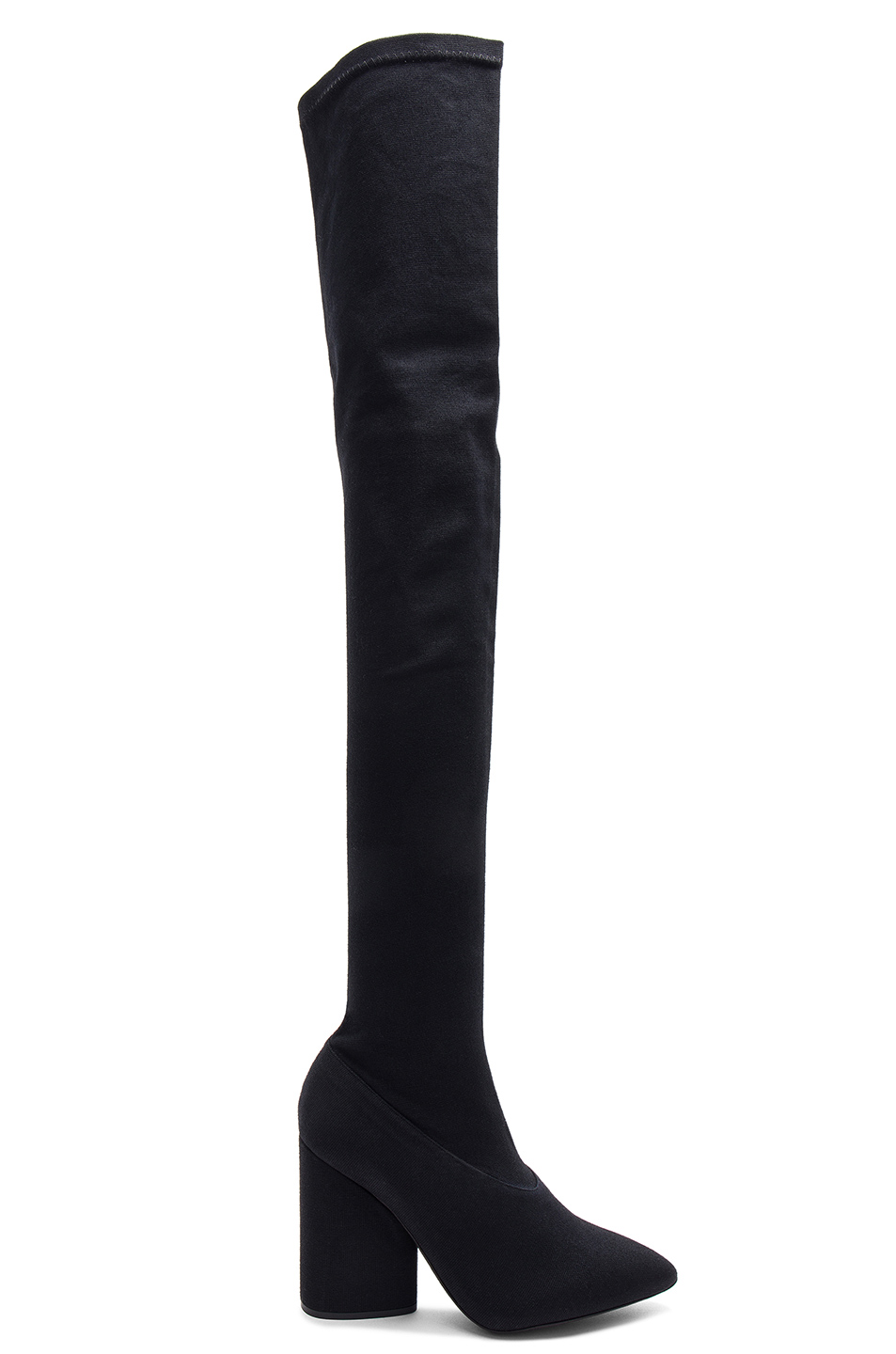 YEEZY Season 4 Stretch Canvas Thigh High Boots in Black