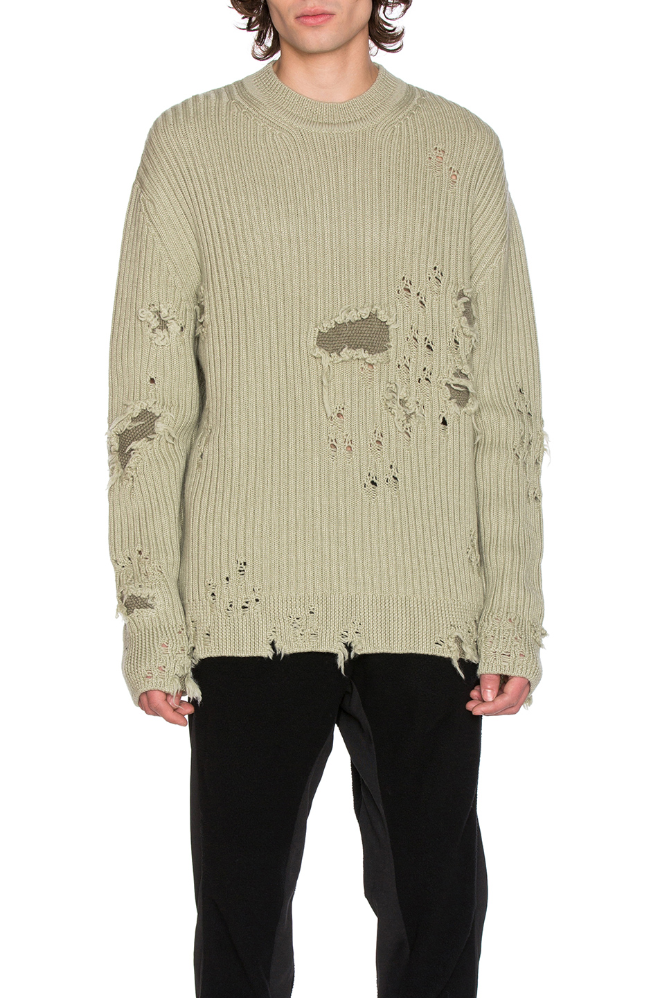 YEEZY Season 3 Destroyed Military Rib Sweater in Green
