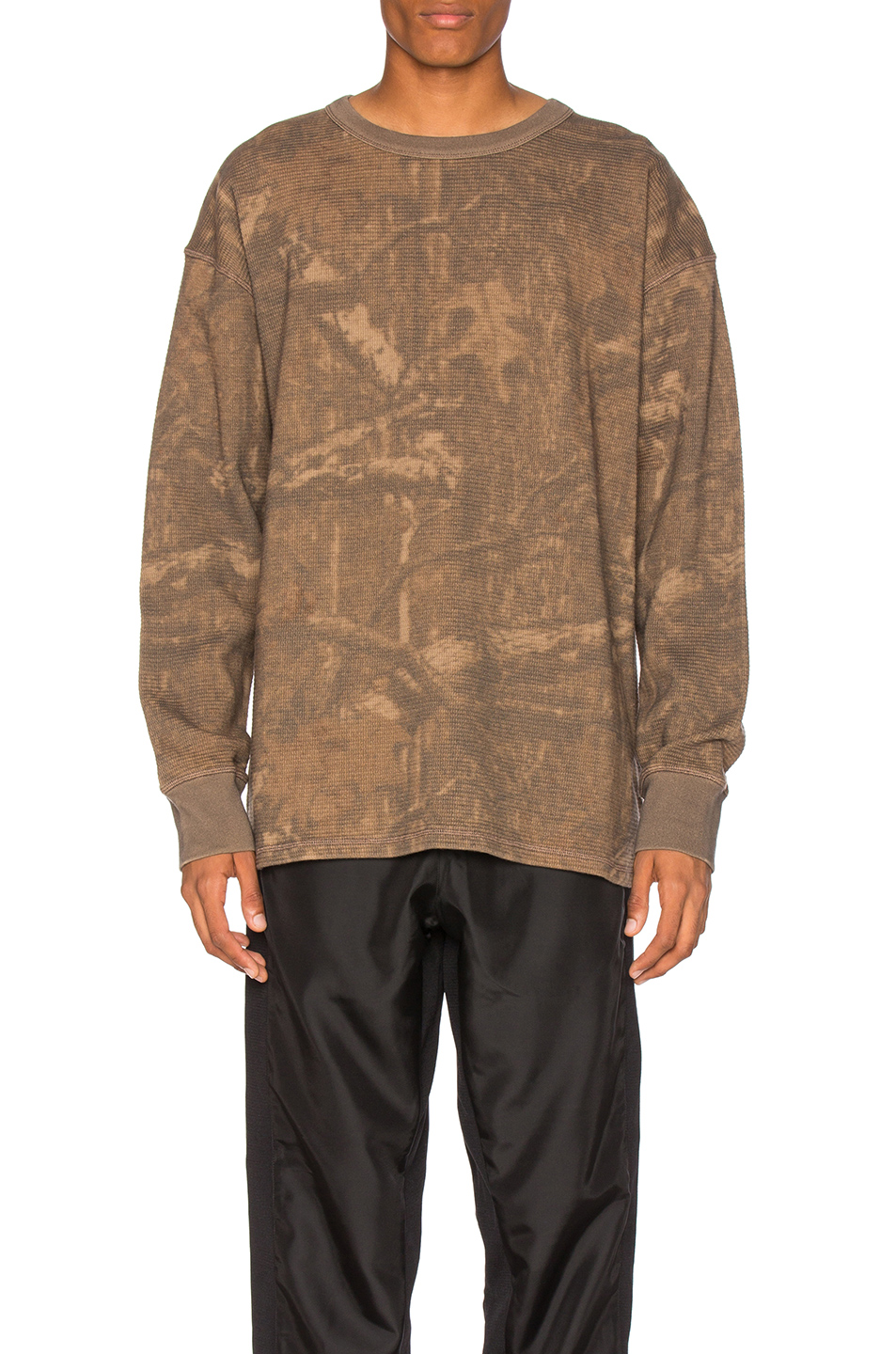 YEEZY Season 3 Thermal Long Sleeve Tee in Abstract,Brown