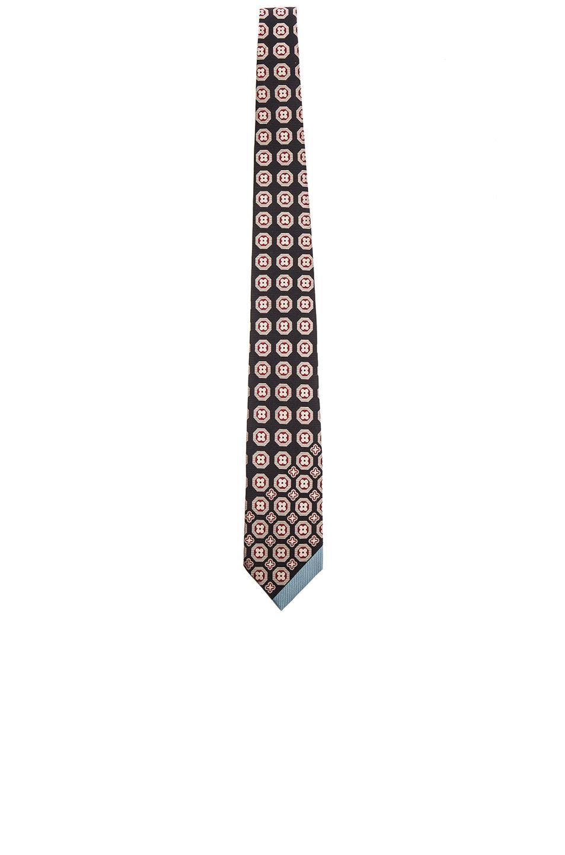 Yohji Yamamoto Tie in Black,Geometric Print,Floral