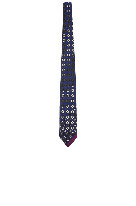 Yohji Yamamoto Tie in Blue,Geometric Print