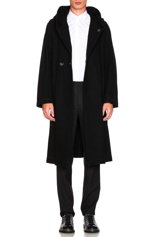 Yohji Yamamoto Hooded Coat in Black