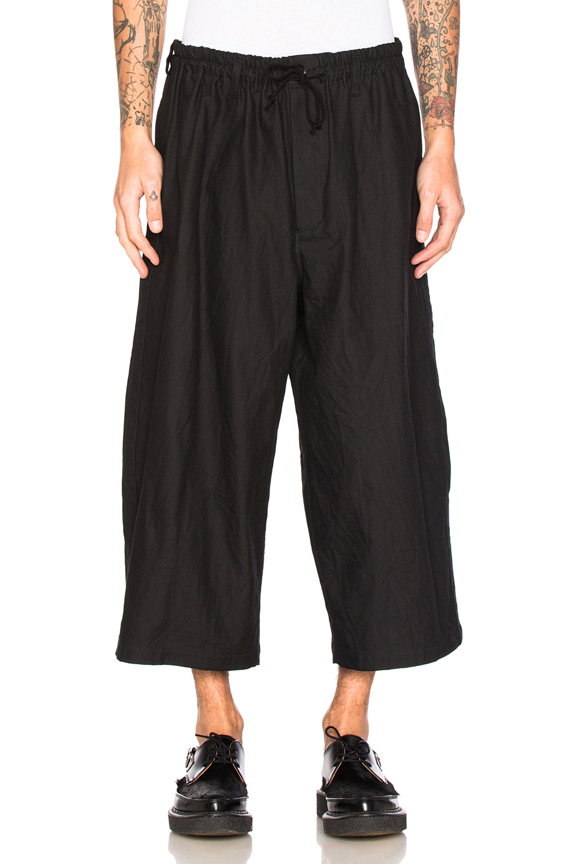 Yohji Yamamoto Side Tape Wide Elastic Trousers in Black