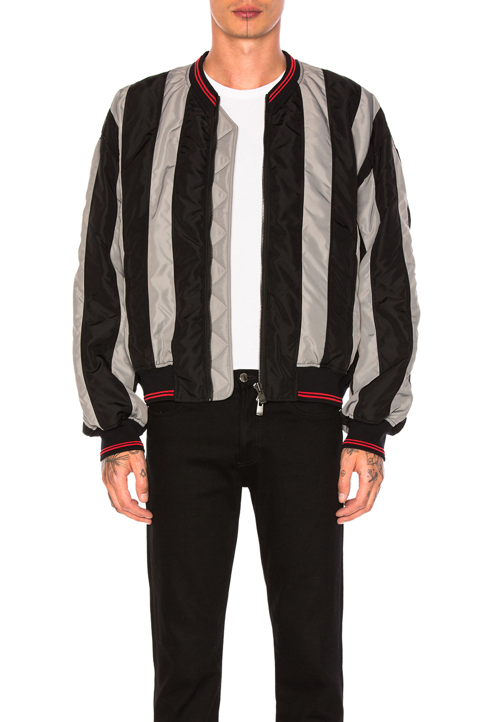 Y Project Striped Bomber Jacket in Black,Gray,Stripes