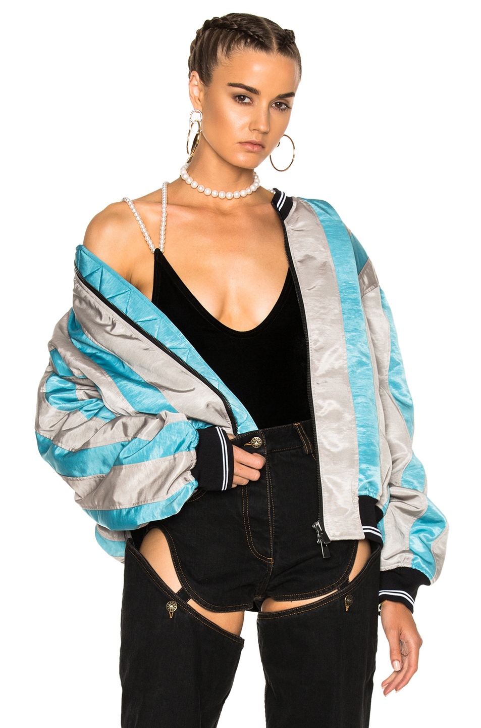 Y Project Striped Bomber Jacket in Blue,Gray,Stripes